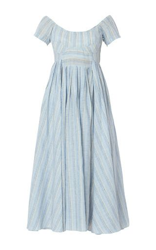 This **Gul Hurgel** dress features a scoop neckline and a pleated A-line styled midi skirt.