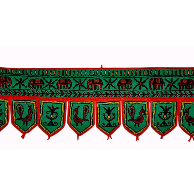 Door hangers Bandhanwar Door hanging With Peacock and Elephant Design Product Code :Peacock Door Hangings63 Size: 11 X 37 Inches * Color: Green * Fabric: Cotton This amazing cute Door hanging is expertly crafted in the style of elephant & peacock embroidery developed in Jaipur!!. $6.11