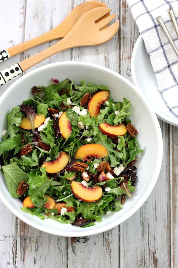 A peach, feta and pecan salad. An easy, fresh, simple salad featuring peaches, feta and pecans.