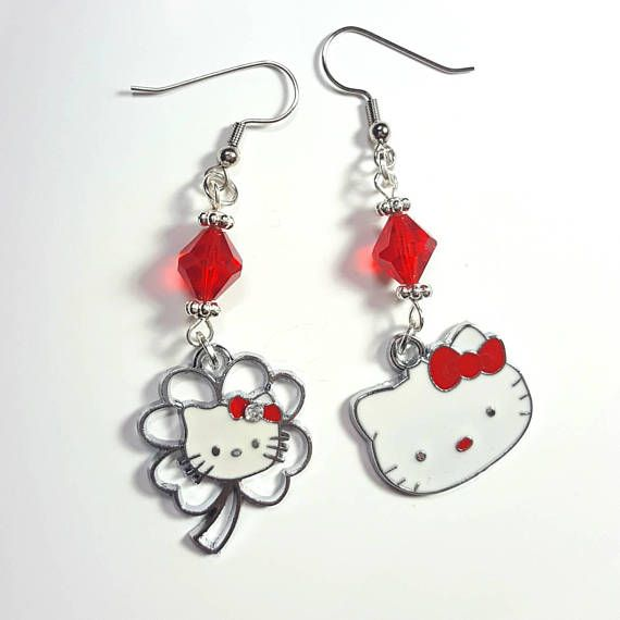 a658f716a Silver & Red Mix Matched Hello Kitty Enamel Charm Earrings,Red Hello Kitty  Rhinestone Flower Earrings, Enamel Hello Kitty Head FREE SHIPPING