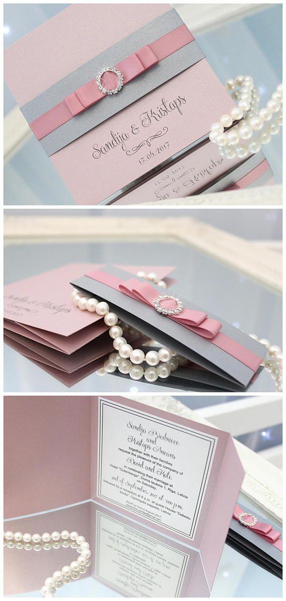 pink wedding invitations silver wedding invitations pink