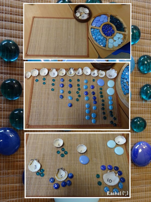 "Numbered shells and glass nuggets - from Rachel ("",)"