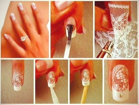 Lace Nail Art - by All Day Chic  --  http://alldaychic.com/lace-nail-design-diy/