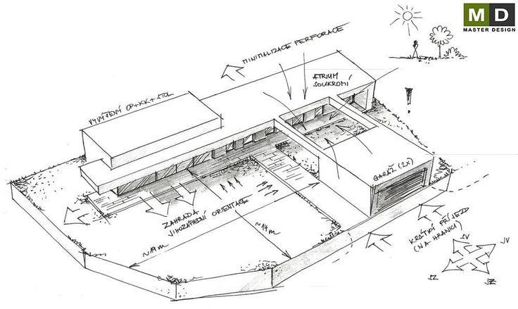Luxusní nízkoenergetický bungalov z betonu - Ořechov - Skica