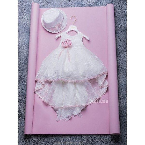 Μοντέρνο βαπτιστικό φόρεμα Dolce Bambini με φούστα από Γαλλική δαντέλα και ροζ αντικέ λουλούδι, Βαπτιστικά φορέματα οικονομικά, Βαπτιστικά ρούχα για κορίτσι προσφορά, Dolce Bambini βαπτιστικά φορέματα τιμές, Βαπτιστικά κορίτσι σε εκπτώσεις, Βαπτιστικά esh