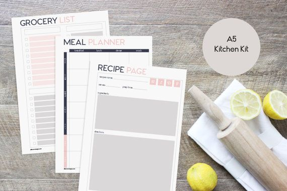 A5 Printable Inserts Refills Kitchen Kit (also fits kikki.k PERSONAL Planner & Time Planner LARGE) - Audrey Collection