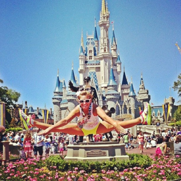 Toe-touch in front of Cinderella's castle: Cheerleading Cheers, Then Touch, ️Cheerleading ️, Cinderella Castle, Cheer 3, Movie Unlimited, Buy Movie