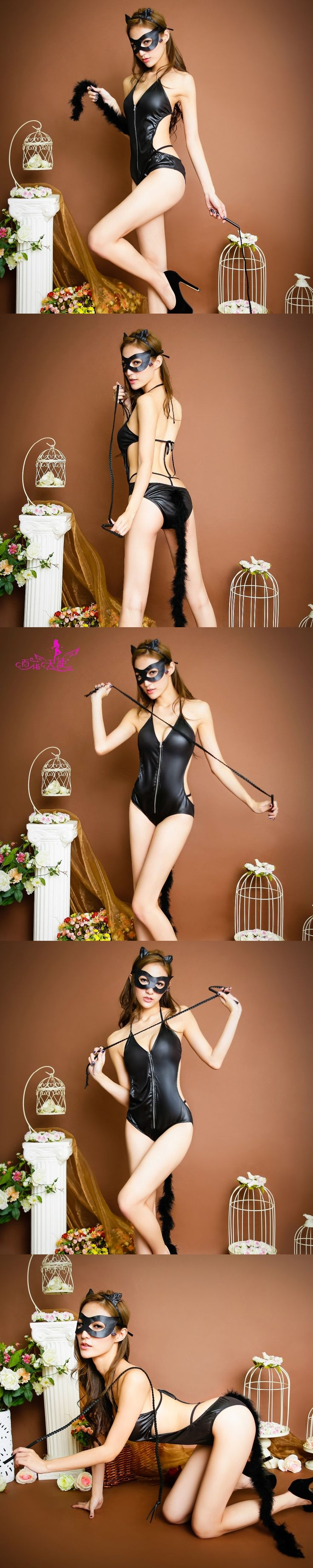 baihuatianshi 2017 Women Sexy latex catsuit Costumes Cosplay Sexy underwear female whip eye mask ear Uniforms Lingerie