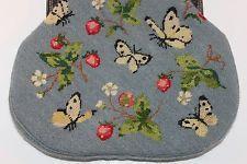 RARE Roberta Di Camerino HANDBAG PURSE Needlepoint Chain Butterflies Strawberry