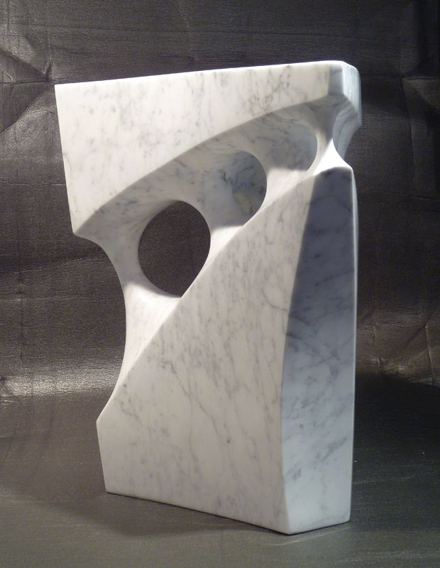 Labyrinth - Abstract sculpture - Carrara marble - 14H x 13W x 6D - Jeremy Guy
