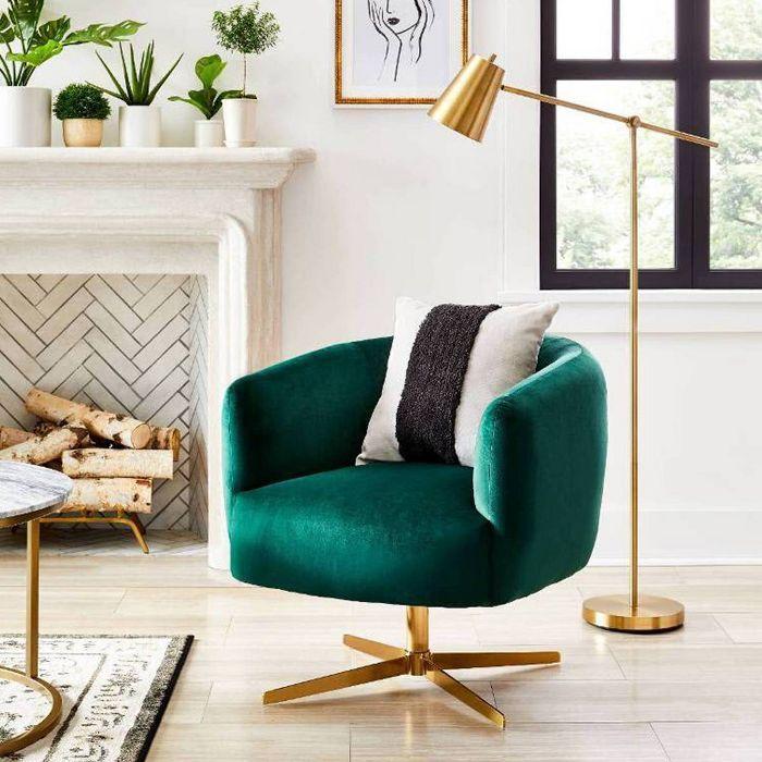 Morpho Swivel Velvet Arm Chair Opalhouse In 2020 Gold Living Room Velvet Armchair Green Furniture #swivel #arm #chairs #living #room