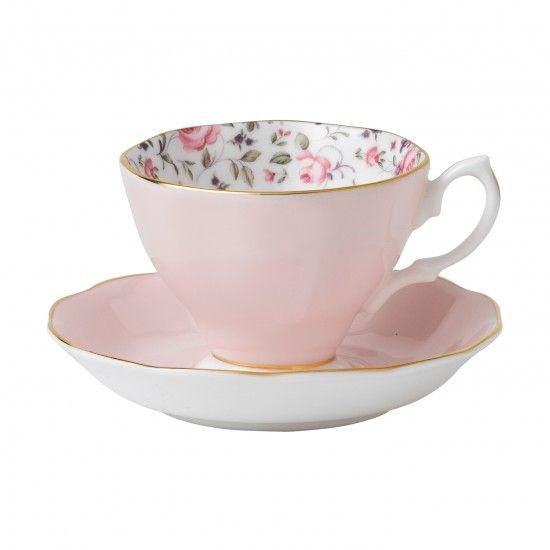 Rose Confetti Vintage Teacup & Saucer Boxed Set
