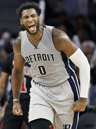 Detroit Pistons' Andre Drummond (0) reacts after getting