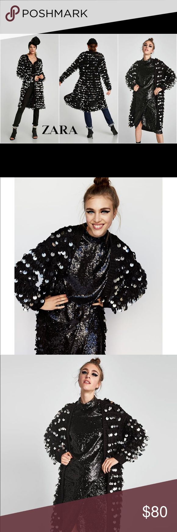 Zara knit coat Sequin coat will make a statement dress up or down Zara Jackets & Coats