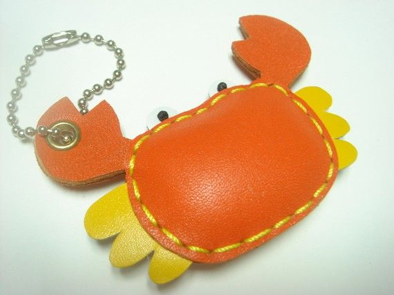 Maria the Crab Leather Charm ( Orange ) ($19.00 USD + shipping and handling)