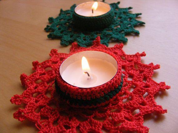 Christmas Crochet Candle Holder PDF Pattern