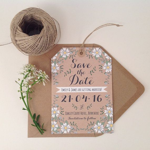25 Spring Flowers Save The Date Luggage Tags, Rustic Wedding Stationery, Outdoor Wedding, Modern Wedding