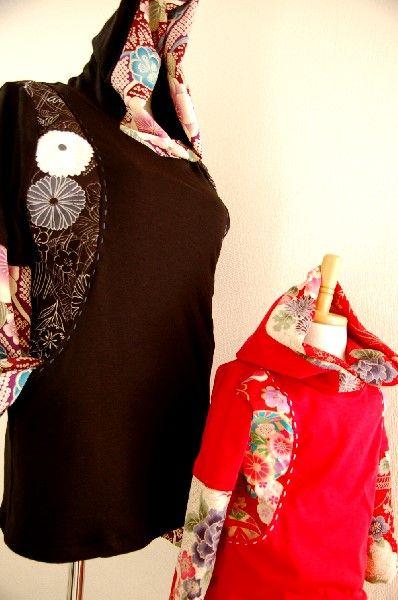 ★一点物・受注作製★和柄・前ポケット切替重ね着風長袖Tシャツ☆ベビー、キッズ、レディース、メンズ - 手作り子供服の通販店 「神の手」