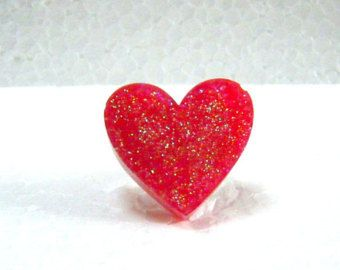 Glittery red resin heart ring