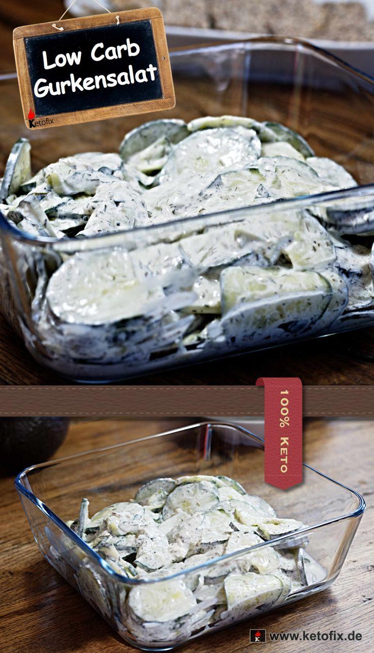 Low Carb Gurkensalat Rezept. Bist du auf der Suche nach einem Low-Carb Salat? Grün, frisch und knackig? Dann probiere doch einmal mein Gurkensalat Rezept. Gurken gehören zu den kohlenhydratarmen Gemüsesorten, die dich nicht so leicht aus der Ketose werfen. Gurkensalat ist also super für die ketogene Diät geeignet und zudem sehr gesund.