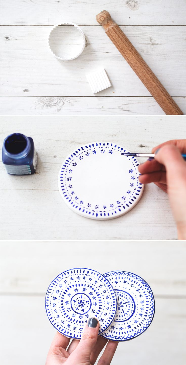 Paint plain, clay coasters with a delicate pattern for tea-time ready decor.