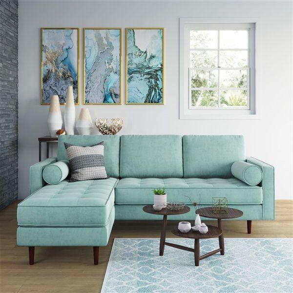 Matilde Reversible Velvet Sectional Teal Living Room Decor Living Room Design Decor Teal Living Rooms