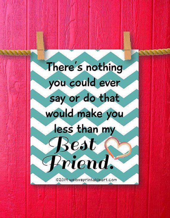 Best Friend Gift Idea Friendship Quote Teal Chevron Wall Art Best