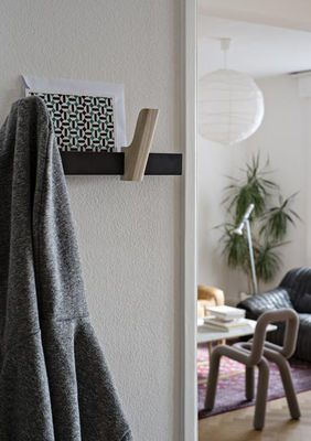 Beam Coat stand Anthracite / Ash hooks by Hay