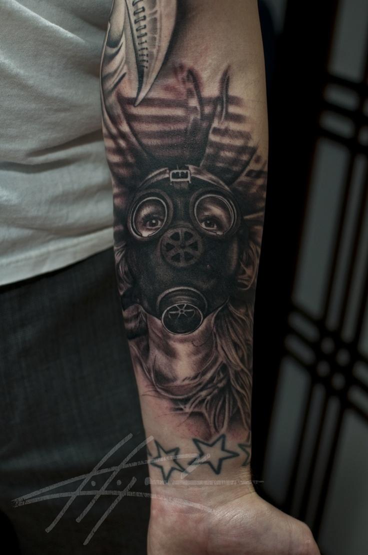 Gas mask tattoo.