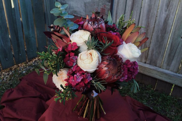 Natives and roses bridal bouquet. My favourite combo