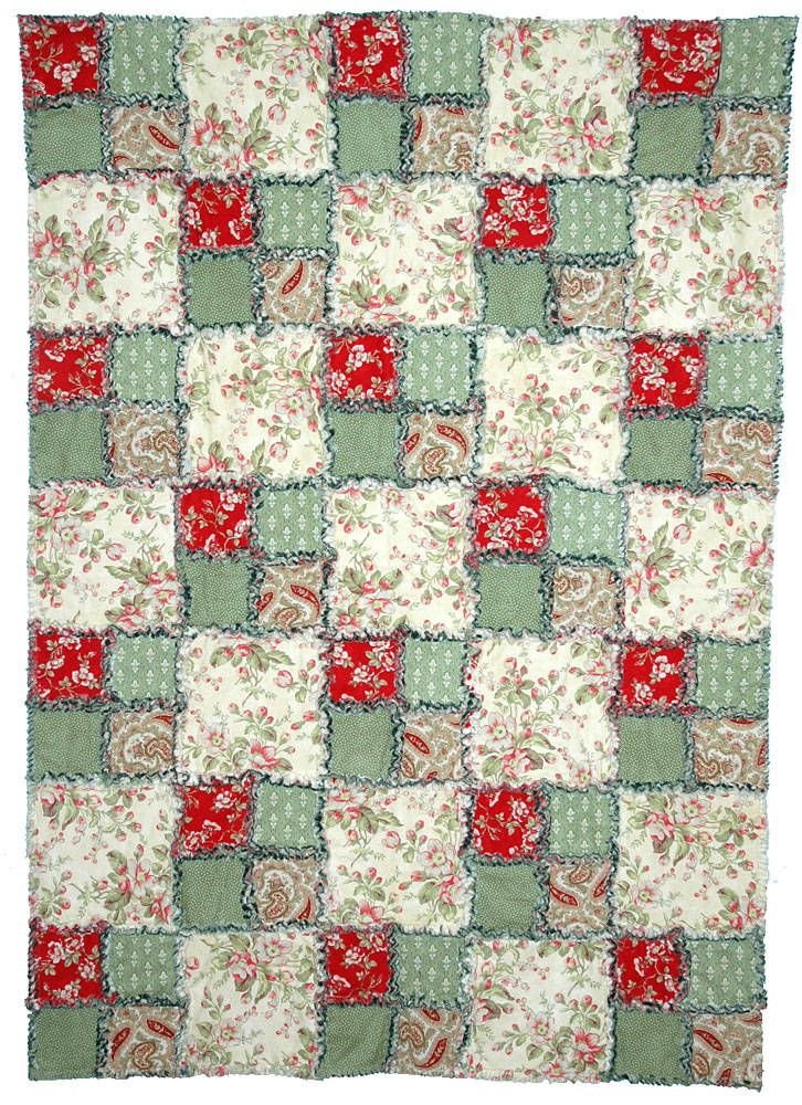 Free Quilt Patterns for Beginners | This rag quilt is sewn in holiday colors, but prints are generic ...