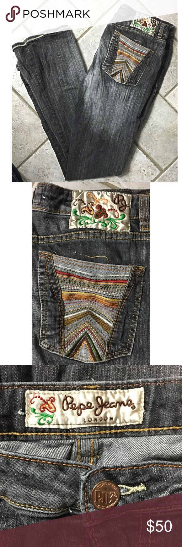 Pepe Vintage High Waisted Mom Jeans Black 30 Pepe Jeans London Vintage High Waist Mom Jeans size 30. These jeans from the 90s are so unique & fun with patches & colorful embroidery  - they don't make them like this any more!  Measurements coming...... Pepe Jeans Jeans