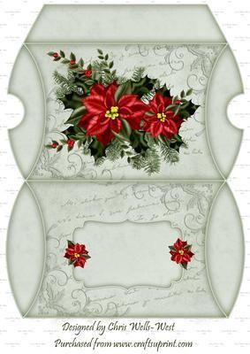 Poinsettia Script PillowBox on Craftsuprint - Add To Basket!