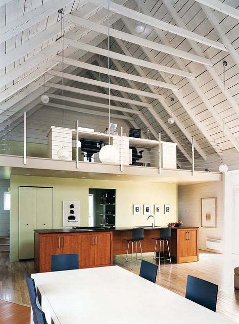 While I'm over 100% open concept living areas—hello! grease from cooking on everything in the space?—I love the idea of this sort of loft idea for an office. A command center but apart from it all too.