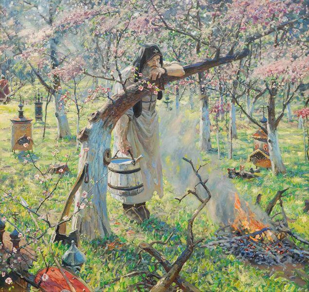 """Павел Рыженко.  """"Ослябя"""" 2005 г. Холст, масло. 150 cм Х 160 cм."""