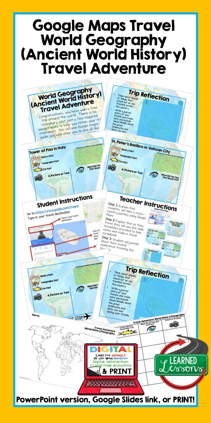 World Geography Lessons, World Geography Activities, Ancient World History Activities, Ancient World History Lessons, Travel Adventure, Geography Scavenger Hunt, Google Classroom, Middle School Teacher, upper Elementary Teacher.  Google Maps Travel, Mapping Activity