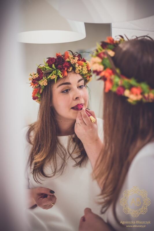 Vibrant, richly coloured bridal floral crown with red roses, orange and pink…