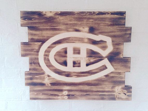 Montreal Canadiens hockey wood sign by WallyWallhangers on Etsy