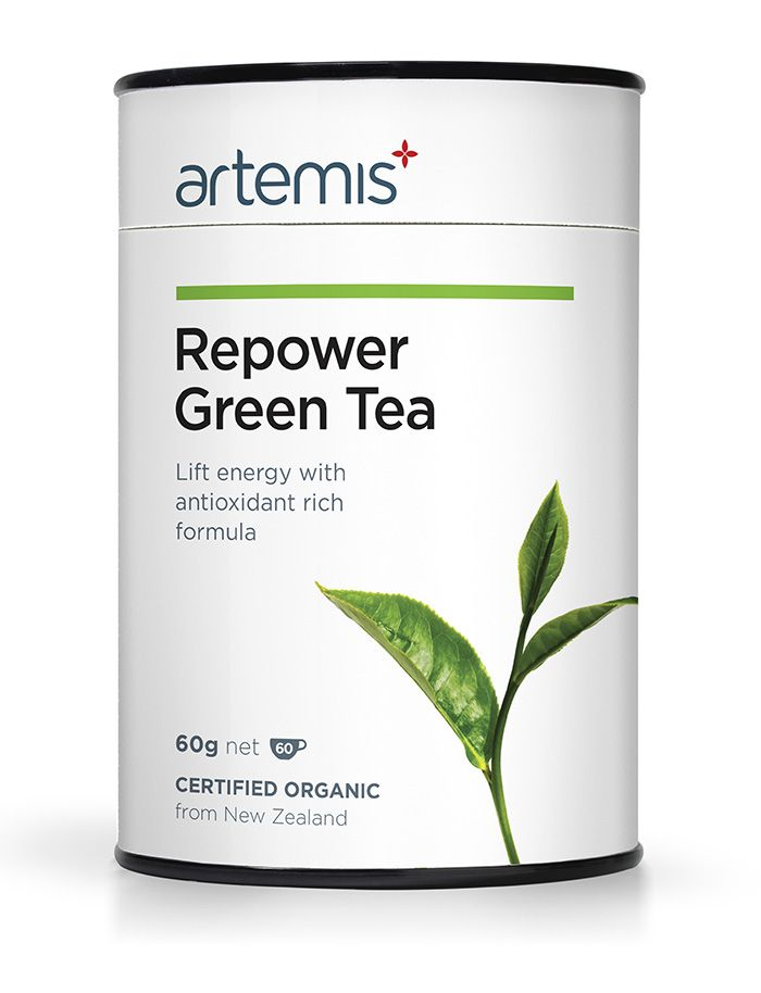 Repower Green Tea is a powerful antioxidant and energy booster. It is formulated to powerfully re-energise your system and is packed full of antioxidants. This natural formula rejuvenates your energy, sharpens concentration and helps you combat tiredness. Repower Green Tea is an ideal replacement for tea or coffee. Certified Organic, from NZ.