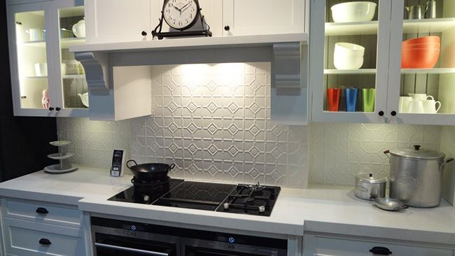 Pressed Tin Panel Kitchen Splash Back I love that added texture you can create with this product!