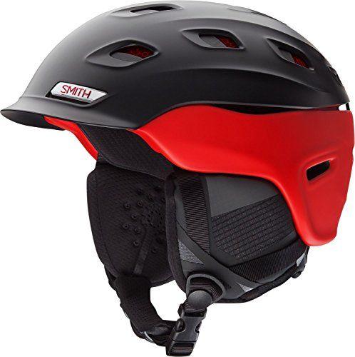 Smith Optics Unisex Adult Vantage Snow Sports Helmet – Matte Black/Red Small (51-55CM)