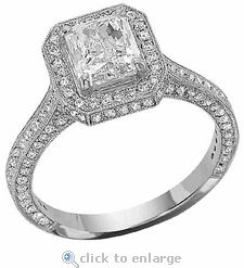 Cubic Zirconia Carat Emerald Radiant Cut And Pave Solitaire Engagement Ring In White Gold By Ziamond The Rushmore Features Approximately Carats