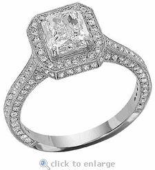 Cubic Zirconia 2.5 Carat Engagement Ring Emerald Radiant Cut & Pave CZ  Solitaire 14k White Gold