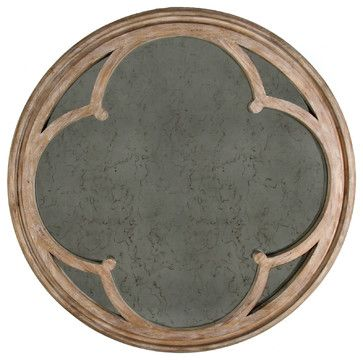 Alhambra French Country Hand Antiqued Circular Wood Mirror - traditional - makeup mirrors - Kathy Kuo Home
