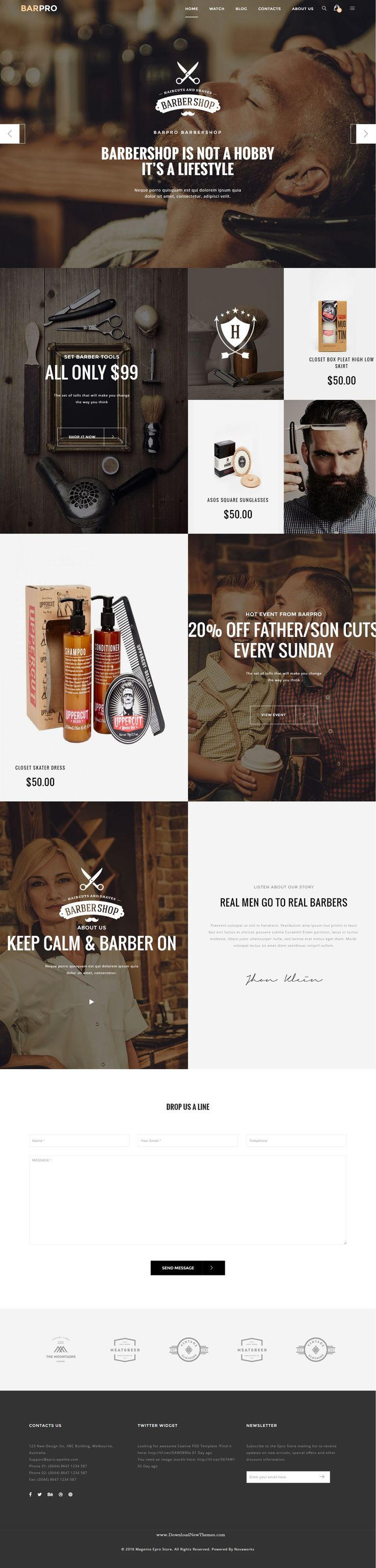 Epro - Premium Responsive Magento Theme. It has 8 stunning demos, 5 product layouts with creative design perfect for viral online store website. Demo #barber #hairstyle #barbershop Download Now➝ http://themeforest.net/item/epro-premium-responsive-magento-theme/15373347?ref=Datasata