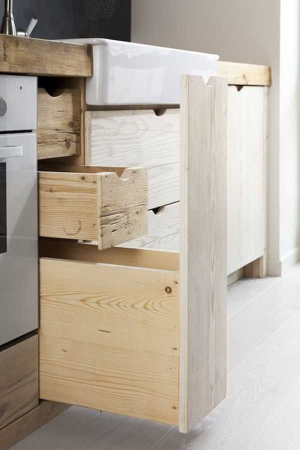 Contemporary country kitchen made of reclaimed wood by Katrin Arens in Bergamo, Italy | Remodelista