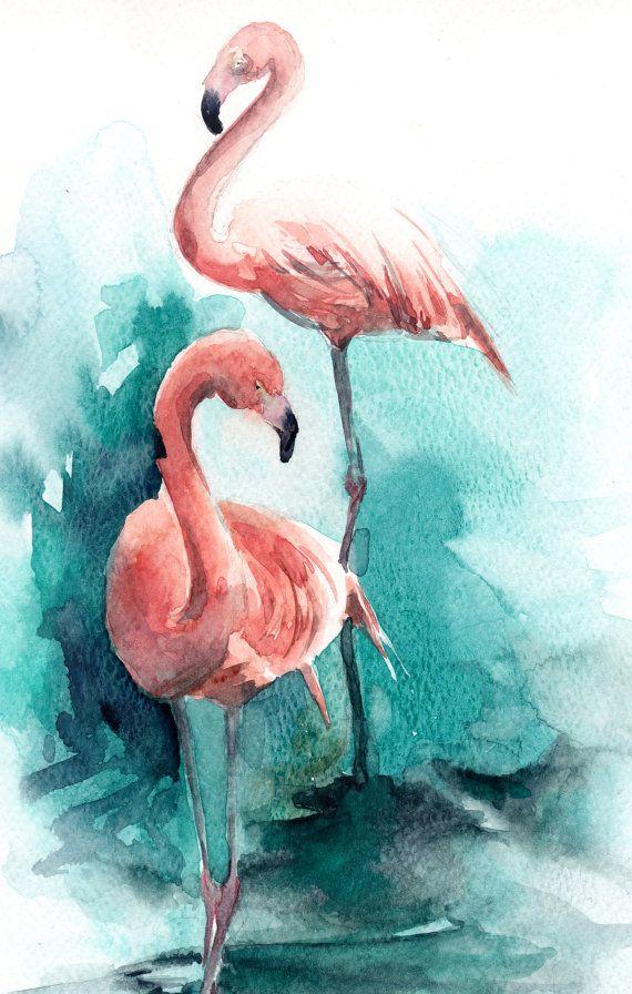 Flamingos Painting ORIGINAL Watercolor Painting by CanotStop