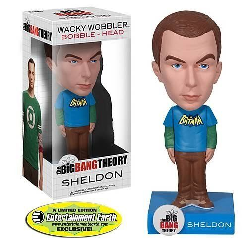 Big Bang Theory Batman Sheldon Cooper Limited Edition Bobble Head by Funko. $16.99. Entertainment Earth exclusive. Officially licensed. Limited edition. Ages 5 and up. Entertainment Earth Exclusive! You'll scream Bazinga over this Entertainment Earth Exclusive Sheldon Cooper Batman Bobble Head! From the hit comedy series The Big Bang Theory, comes Sheldon Cooper! Sheldon comes disinterested, and the Wacky Wobbler features him in a blue Batman T-shirt with green long sleeves, and ...