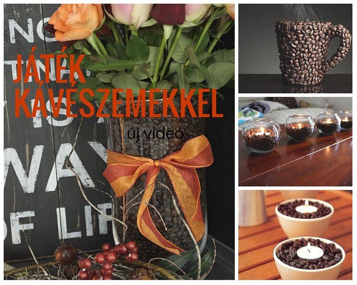 kreatív váza kávészemekkel