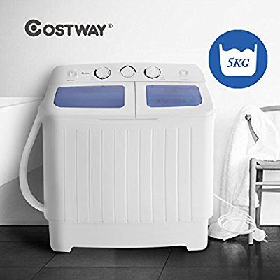 Costway Mini Twin Tub Washing Machine (5KG Washing + 3KG Drying) Portable Washer Spin Dryer Compact 300W: Amazon.co.uk: Large Appliances